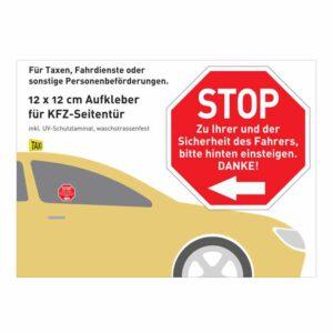 "Aufkleber ""STOP Hinten einsteigen"" (rot)"